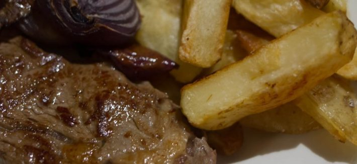 Photo of steak and chips. Meat bought from the local butchers