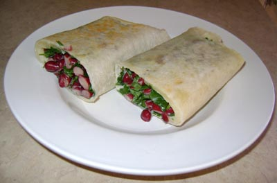 picture of very yummy bean and cilantro vegetarian wraps