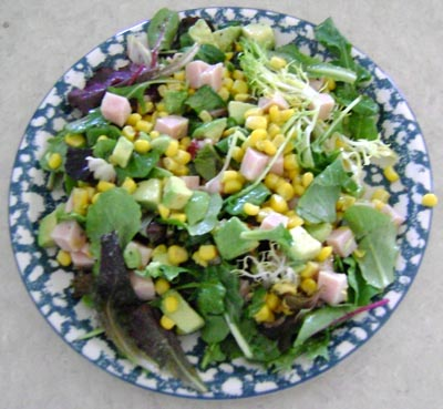 picture of the yummy main dish salad with turkey, corn and avocado