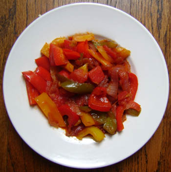 russian sweet pepper appetizer on a plate