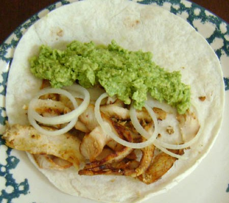 chicken fajitas with sliced leftover chicken