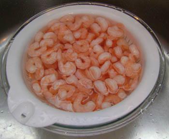 frozen shrimp thawing defrosting