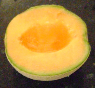 Here's the cantaloupe half without the seeds!