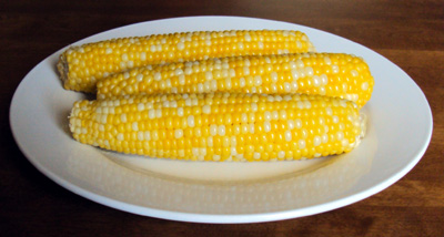 corn cooked in a microwave