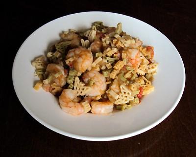 pasta with shrimp, tomato sauce, eggplant and garlic