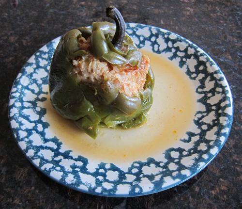 stuffed green bell pepper