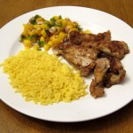 catfish nuggets with yellow rice and mango salsa