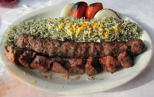 reza's restaurant beef kabob combo with dill rice