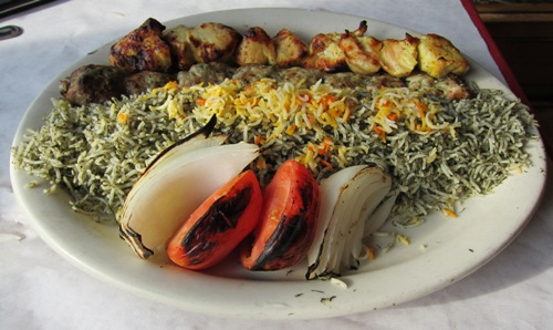 reza's chicken kabob combo with dill rice - food photo