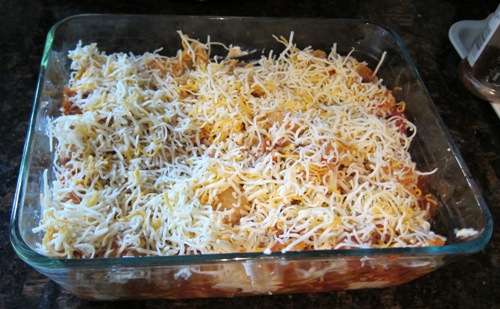 sprinkle the casserole with the shredded cheese on top