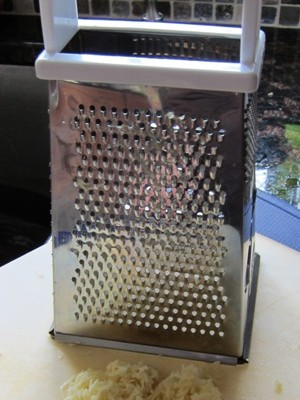 mince garlic with box grater