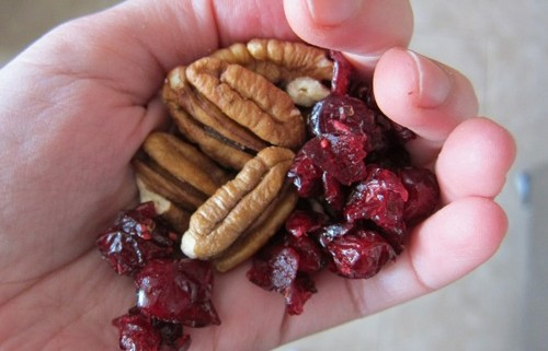 a handful of dried cranberries and nuts