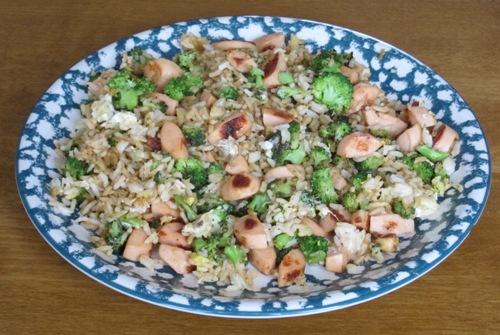 chicken broccoli and rice stir-fry