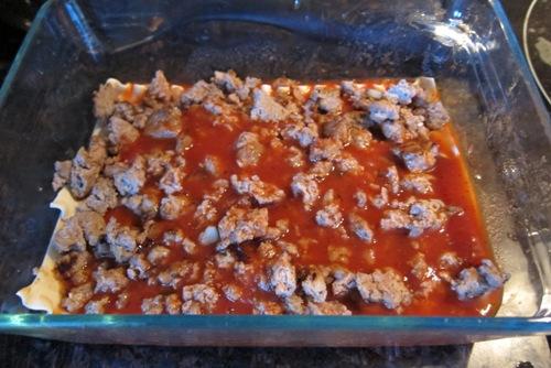 meat sauce layer of lasagna