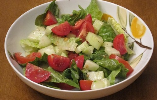 Salad Recipe With Lettuce Tomatoes And Cucumbers Melanie Cooks