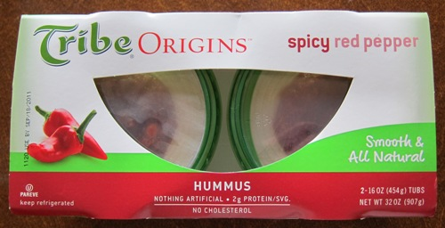 costco package of red pepper hummus
