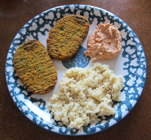 veggie patty felafel with red pepper hummus and quinoa
