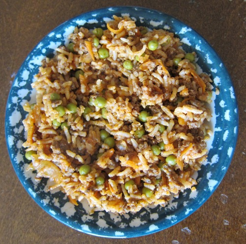 cajun dirty rice with ground beef