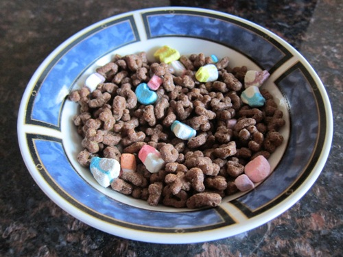 bowl of chocolate lucky charms cereal