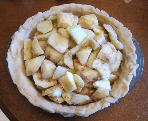 apple pie filling added to the apple pie