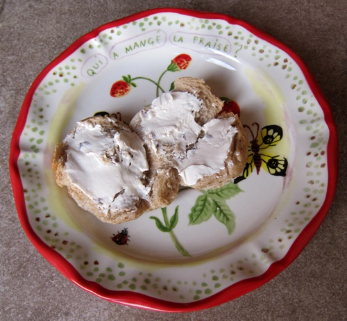 bagel spread with cream cheese