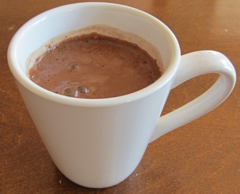a cup of double chocolate hot cocoa