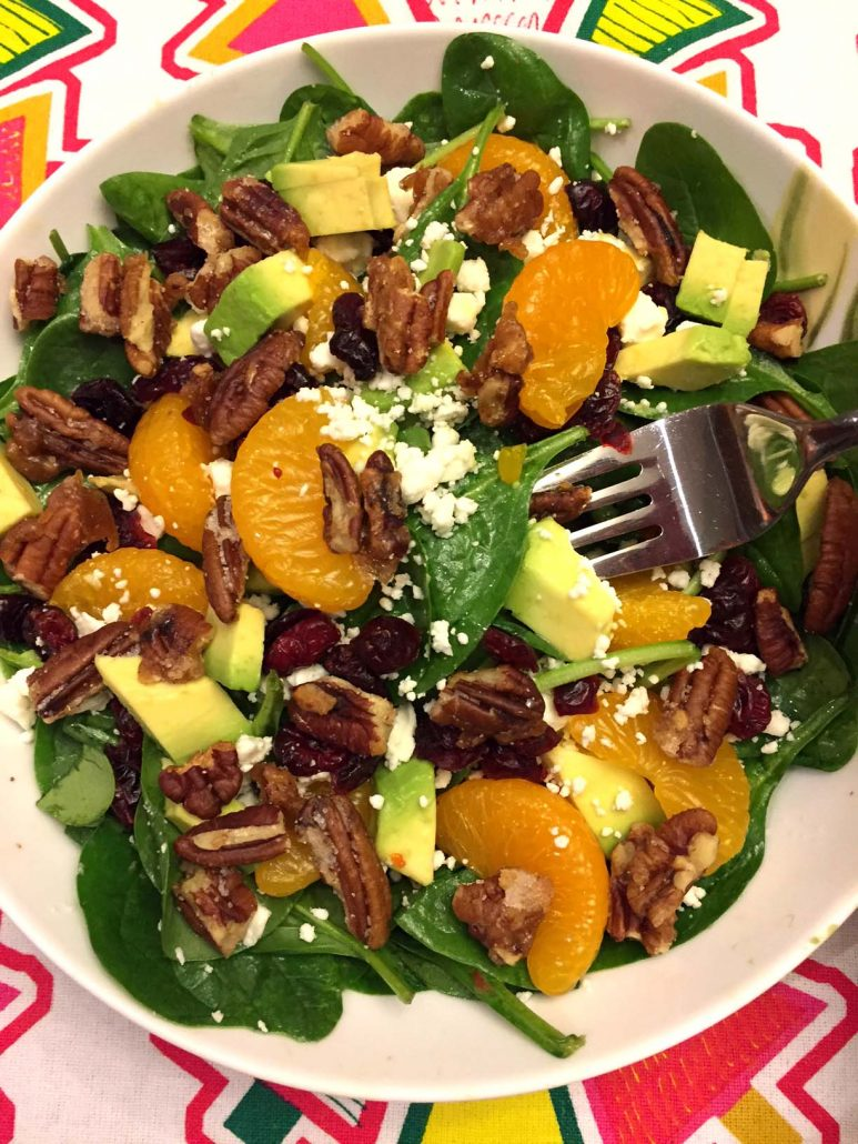 Baby Spinach Salad With Avocado Cranberries Pecans