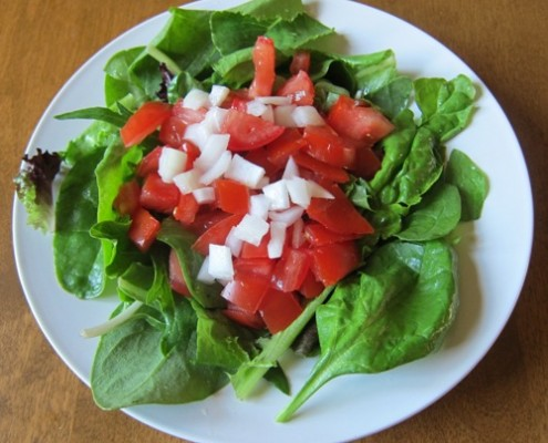 salad with lettuce tomato and onion