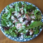 main dish salad with turkey, lettuce, olives and onions