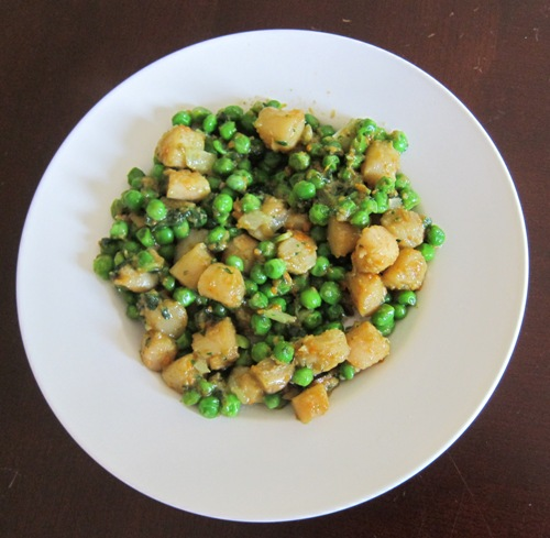 scallop stir fry with green peas