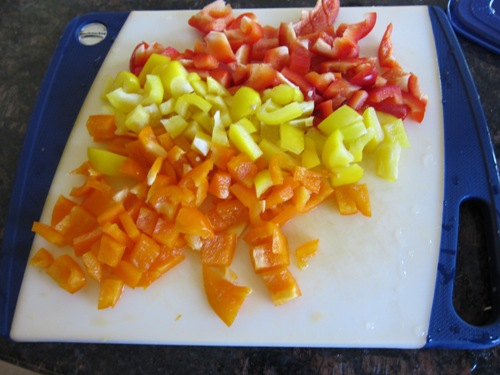 chopped tri-color bell peppers