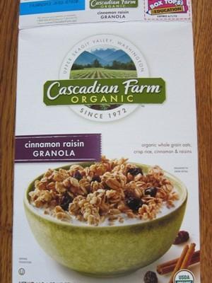 cascadian farm organic cinnamon raisin granola package