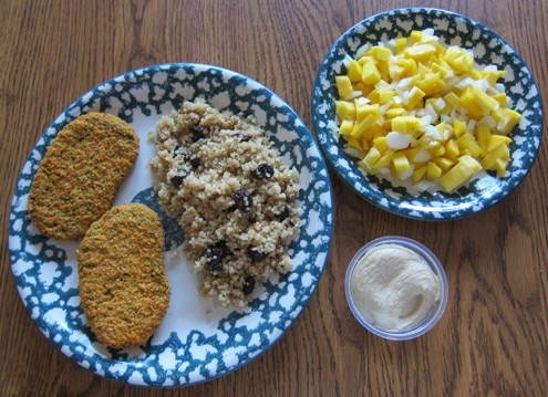 costco veggie patties, quinoa and mango salsa
