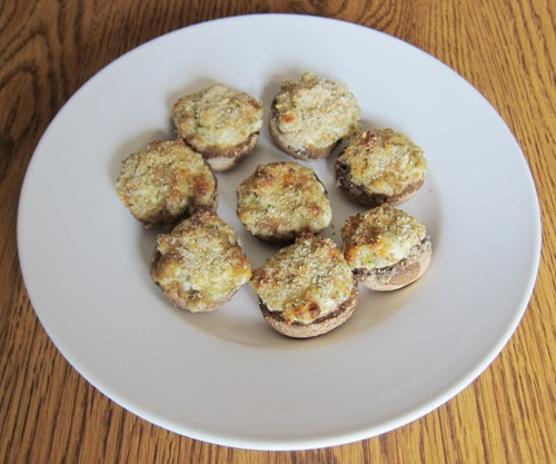 stuffed mushrooms appetizer on a plate