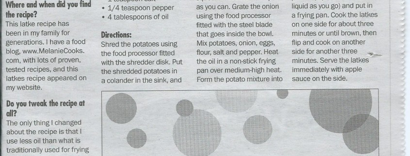 potato pancakes latkes recipe in the newspaper