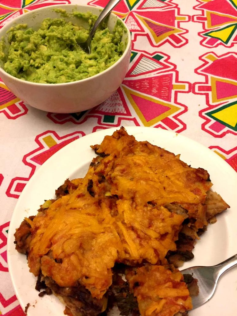 Enchiladas with guacamole