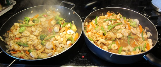 shrimp and veggie stir fry in 2 frying pans