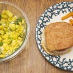 turkey cheeseburger with sweet potato fries and mango salsa dinner