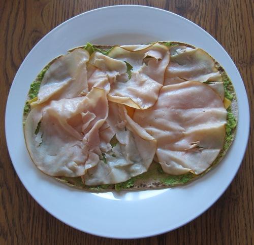 how to make wraps - put turkey slices