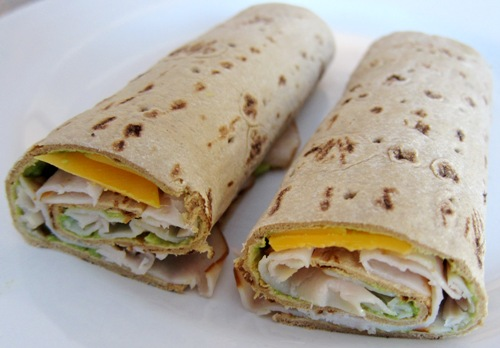 wrap made with turkey cheese and guacamole