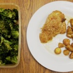 slow cooker chicken stew, roasted small potatoes and broccoli