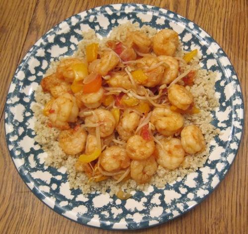 shrimp over quinoa