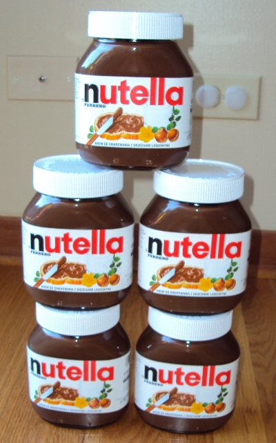 tower made with nutella jars
