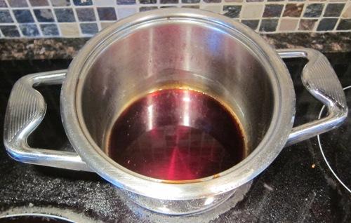pomegranate sauce in a pot