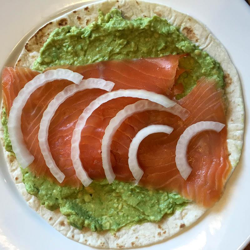 Salmon Avocado Wrap With Onion Slices
