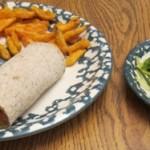 dinner salmon avocado wraps, sweet potato fries and seaweed salad