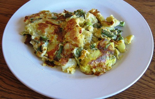eggs with potato asparagus cheese
