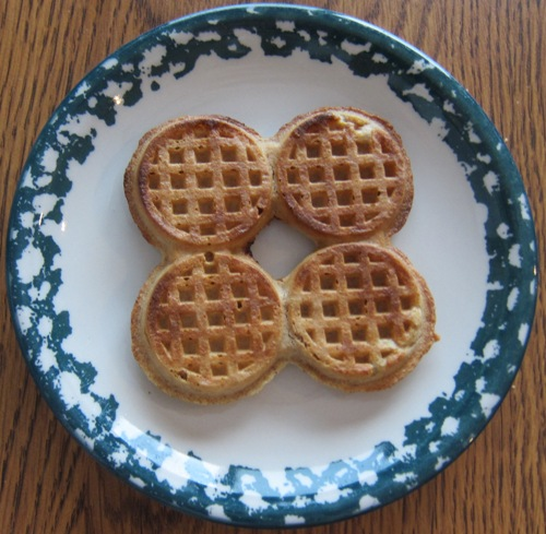 whole foods organic mini waffles on a plate