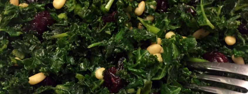 Easy Kale Salad With Pine Nuts And Cranberries
