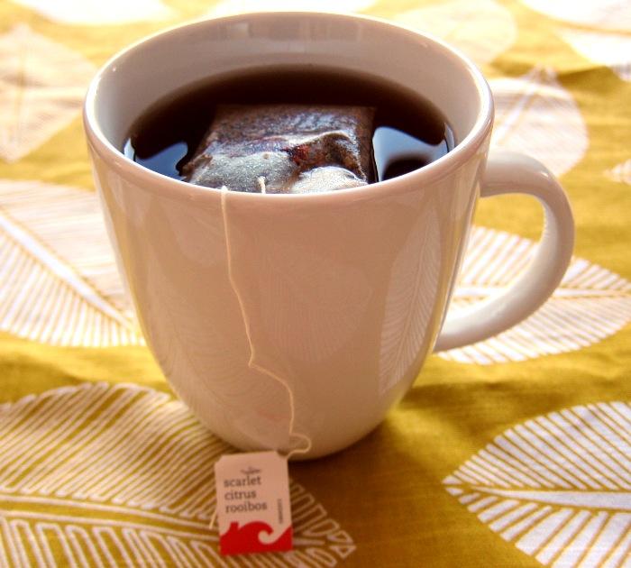 a cup of herbal tazo rooibos caffeine free tea